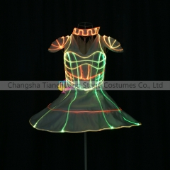 LED Fiber Optic Cage 3D Light Up Smart Corset Dress Dance Performance Wear