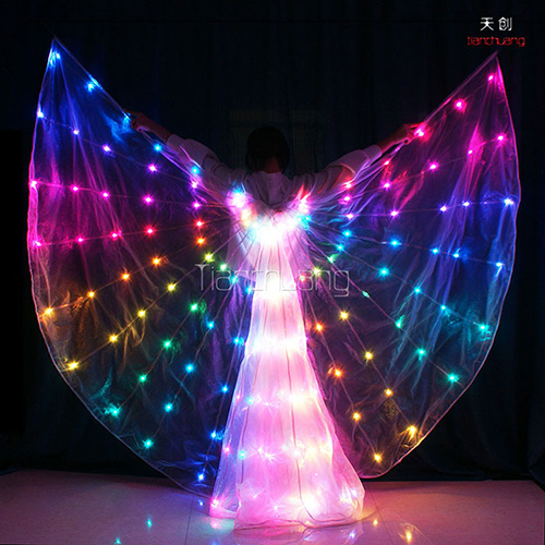 Full color programmale LED lights isis wings for belly dance performance wear