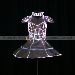 LED Fiber Optic Cage 3D Light Up Smart Corset Dress (Headwear not included, they can be matchy & you can customize your own patten)