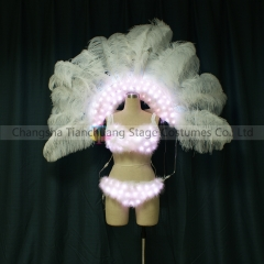 LED Bra + Feather Backpack for Party Showgirl, Nightclub, Stripper