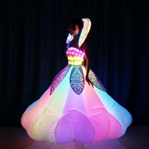 Remote Controlled LED Dreamy Colorful Inflatable Dress with Laser Cutting Delicate Pattern