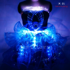 Led light dress for night party show optic fiber led dresses for teens