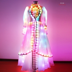 Noble Long Rainbow Dress for Daning Girl / Elegant Fairy Costumes with Flashing Sequins