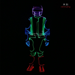 Multicolor led dance suit fiber optic not EL led costume stage show
