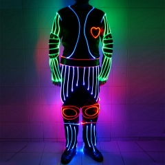 LED Luminous Glowing In The Dark Place Fiber Optic Jumpsuit Dance Costume