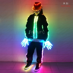 MJ dance costume led robot suit with light up jackets pants hats shoes