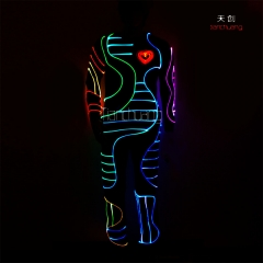 DMX512 Controlled Fiber optic tron dance costume,Fireman mascot costume