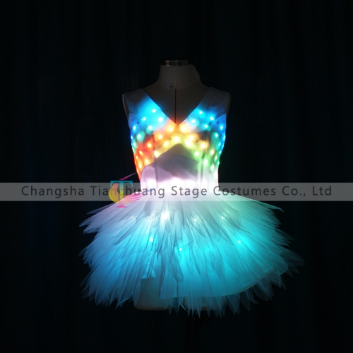 Wireless control LED costumes led prom dresses