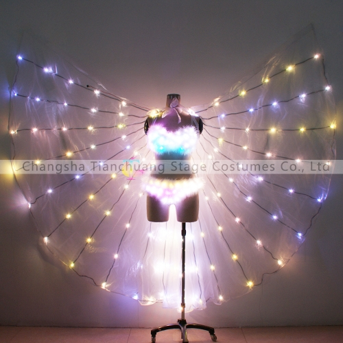 Hot sale sexy LED bra + pants & ISIS wings for belly dance performance wear
