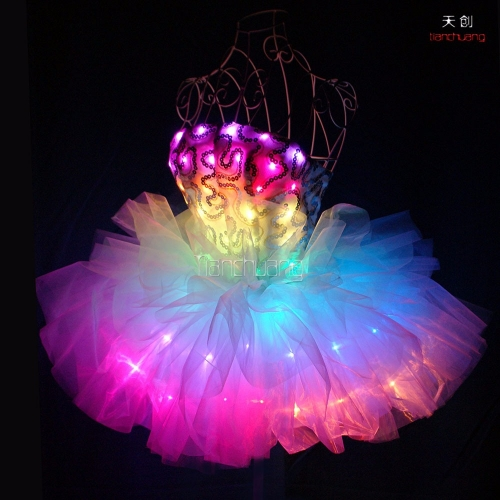 Sexy girls LED shirt skirt,glowing dresses ballroom costume for women