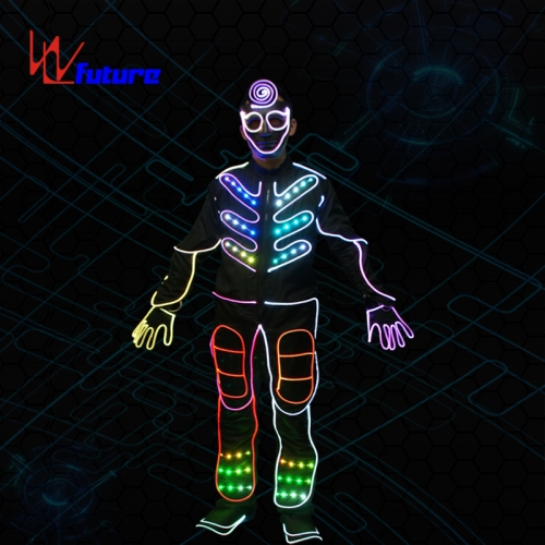 433 Wireless controlled superman LED tron dance costumes,group dance clothing with led