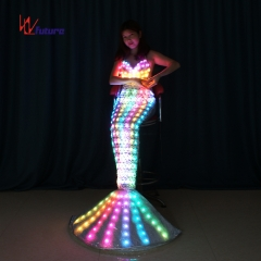 LED Light Glimmer Mermaid Dance Performance Prom Dress Costume, Illuminated Event Show
