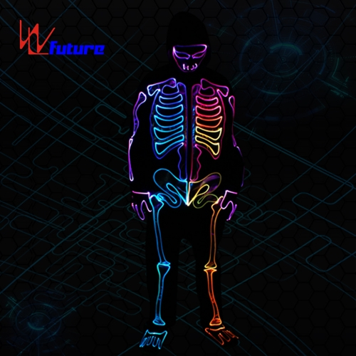 High quality LED fiber optic halloween skeleton dance costumes,glowing suit clothes for halloween party