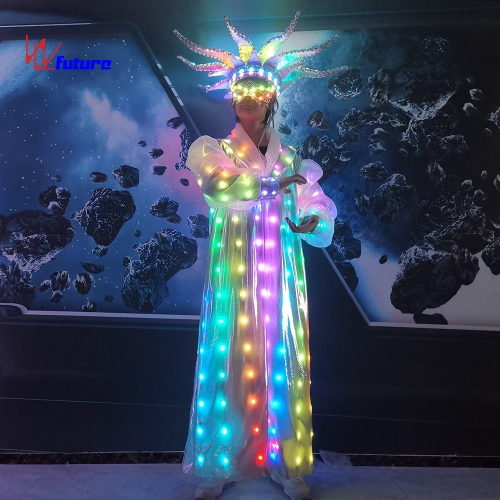 New Design LED Circus Clown Costume Glow in the Dark Dresses Performance Wear